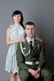Soldat et fille Images stock