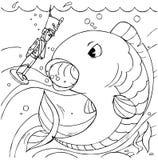 Soldat et poissons continuels de bidon Image stock
