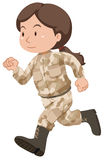 Soldat féminin dans l'uniforme brun illustration stock