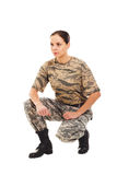 Soldat : fille dans l'uniforme militaire Photos stock