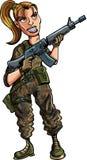 Soldat féminin de bande dessinée avec le fusil d'assaut Image stock