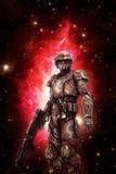 Soldat futuriste de soldat de la cavalerie de l'espace Images libres de droits