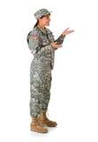Soldat: Gestikulieren zur Seite Lizenzfreie Stockbilder