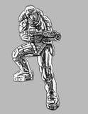 Soldat i harneskdräkt med det stora geväret också vektor för coreldrawillustration Royaltyfri Foto