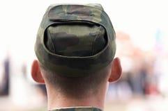 Soldat im Abschluss oben Stockfoto