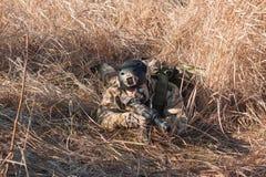 Soldat im Hinterhalt, der mit Gewehr zielt Stockbild