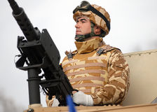 Soldat With Machine Gun Stockfoto