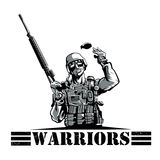 Soldat med geväret och granaten royaltyfri illustrationer
