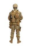 Soldat med geväret på en vit bakgrund Royaltyfria Bilder