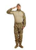 Soldat med geväret som isoleras på vit bakgrund Royaltyfri Fotografi