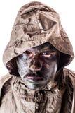 Soldat med regnrocken Royaltyfria Foton