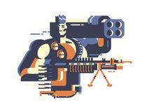 soldat med vapnet vektor illustrationer