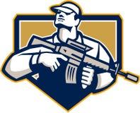 Soldat-Military Serviceman Assault-Gewehr Retro- Lizenzfreie Stockbilder