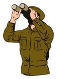 Soldat mit Binokeln Stockfotos
