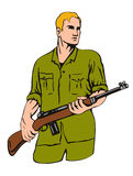 Soldat mit Gewehr Stockbild