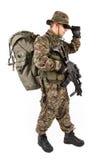 Soldat mit Gewehr auf einem weißen Hintergrund Stockbilder