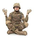 Soldat moderne méditant Photo libre de droits