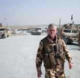 Soldat nach einem Trainingstag Stockbilder