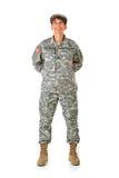 Soldat: Oben schauend entspannt stehen Lizenzfreies Stockbild