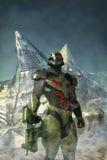 Soldat porté par bataille futuriste illustration libre de droits