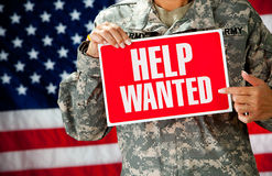 Soldat : Recherche d'un nouveau travail Photos stock