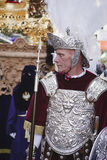 Soldat romain, appelé Armaos, de confrérie d'EL Nazareno, Vendredi Saint Images stock