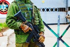 Soldat russe dans Perevalne, Crimée Photos stock