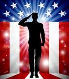 Soldat Salute Patriotic Background des USA Photos libres de droits