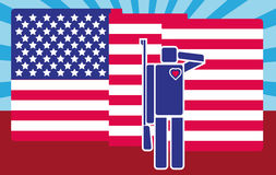 Soldat Saluting American Flag de Cartooned Pictogramme/style plat de conception Illustration de Vecteur