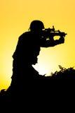 Soldat Silhouette Stockbild