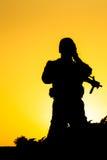 Soldat Silhouette Arkivfoton