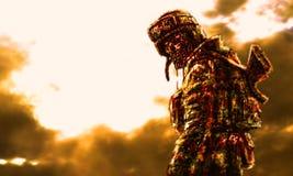 Soldat sinistre de zombi sur le fond brûlant illustration de vecteur