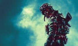 Soldat sinistre de zombi tourné illustration stock