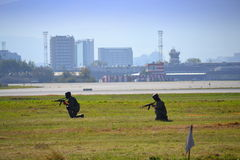 Soldat-Sofia-Flughafendemonstrationen lizenzfreie stockfotografie