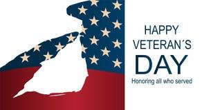 """Soldat som saluterar USA flaggan för minnesdagen Lycklig affisch för dag för veteran` s eller baner†""""på November 11 royaltyfri illustrationer"""