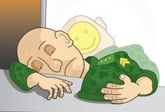 Soldat som tar en ta sig en tupplur Fotografering för Bildbyråer
