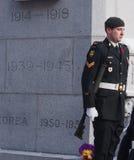Soldat-Stellung-Abdeckung am Erinnerung-Tag Lizenzfreies Stockbild