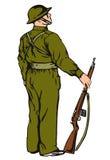 Soldat sur le dispositif protecteur Photographie stock libre de droits