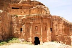 Soldat Tomb i Petra, Jordanien Arkivbild