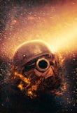 Soldat-tragende Gasmaske und Sturzhelm   Apocalypse stockfoto