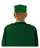 Soldat von der rückseitigen oder hinteren Ansicht Stockfoto