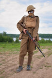Soldat von WW1 in einer Gasmaske Lizenzfreies Stockbild