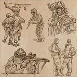 Soldaten, Armee - eine Hand gezeichnete Vektorsammlung Krieger aroun stock abbildung