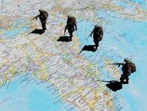 Soldaten auf der Karte vektor abbildung