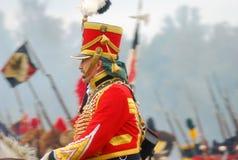 Soldaten auf Pferden an Borodino Wiederinkraftsetzung 2012 Stockfotos