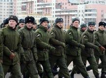Soldaten des internen Truppenmarsches Vorbereitung für die Parade am 7. November im Roten Platz Stockfoto