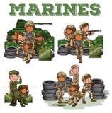 Soldaten mit dem Gewehrkämpfen lizenzfreie abbildung