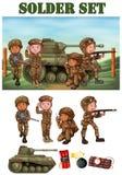 Soldaten mit Gewehr auf dem Gebiet vektor abbildung