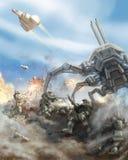Soldaten stoßen den Angriff des riesigen Spinnenroboters ab vektor abbildung
