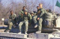 Soldaten vom Armee-Behälter-Korps Vereinigter Staaten, das auf Behälter, Kansas sitzt lizenzfreies stockbild